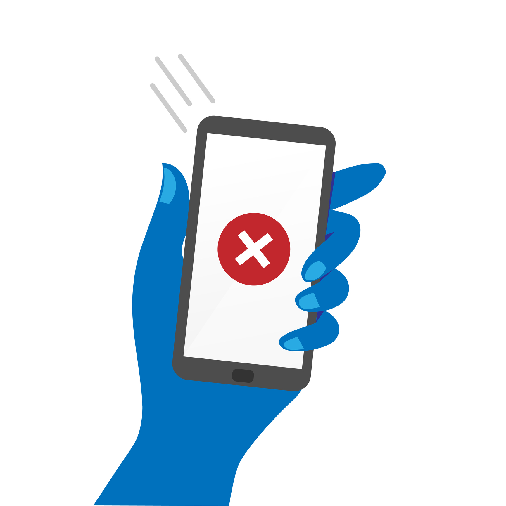 Hand holding smartphone showing decline sign. Image credit: blankaboskov, iStock