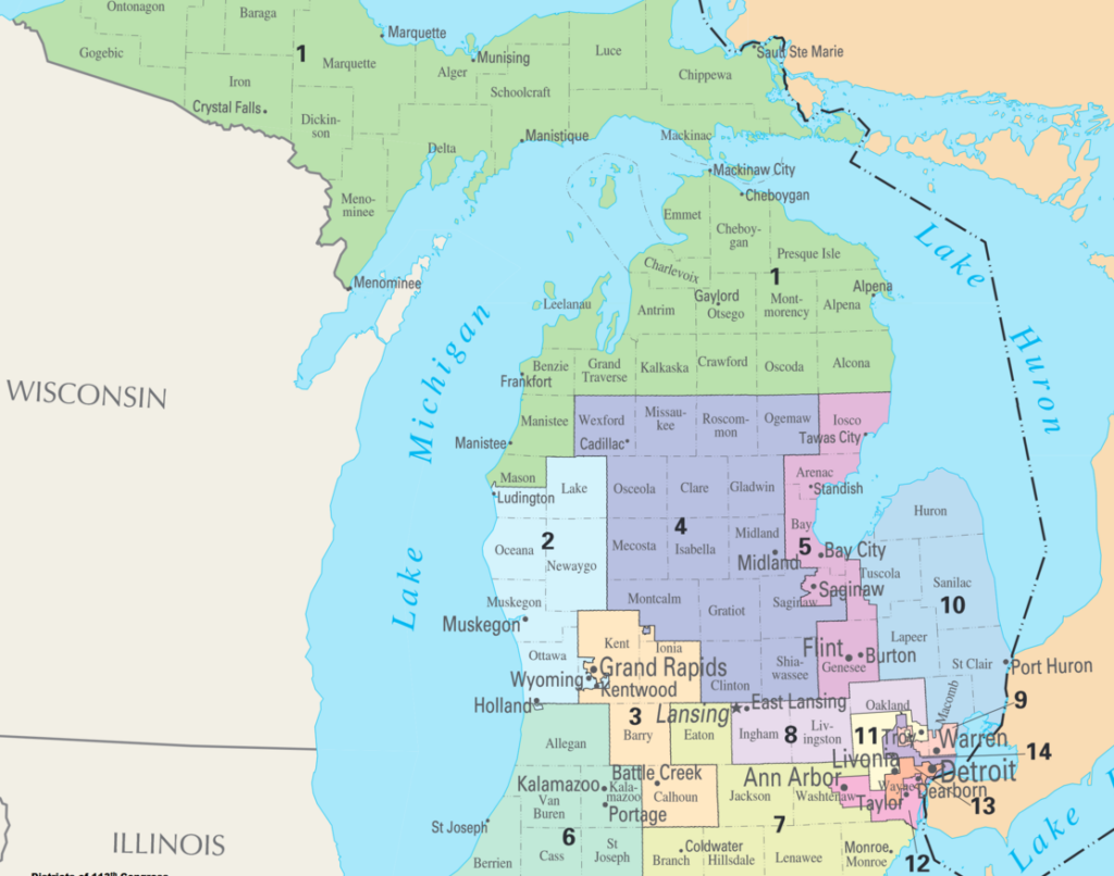 Map of Congressional Districts in the state of Michigan, reflecting district boundaries current to the 113th United States Congress. Image credit: Wikipedia