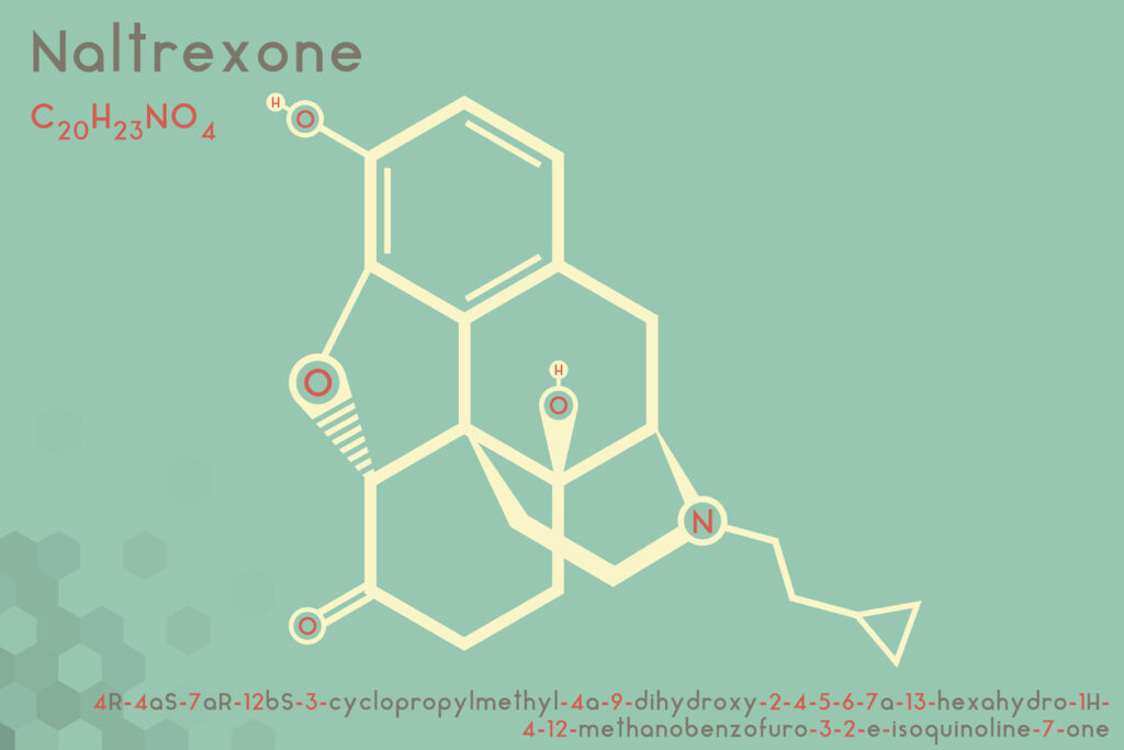Illustration of naltrexone molecule. Image credit: iStock