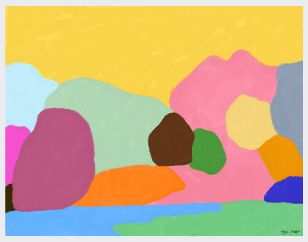 """An image created using the """"Painting Minimalist Landscapes"""" project prompt on Art Connects Kids, a new website created by students at the University of Michigan Stamps School of Art & Design. Image credit: Sofia Stark, """"The Arb"""", 2020, Acrylic on canvas paper."""