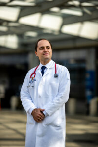 Dr. Tom Saba is a pediatric pulmonologist at Michigan Medicine. He has moved 50% of his appointments to video and phone calls. Image credit: Eric Bronson, Michigan Photography