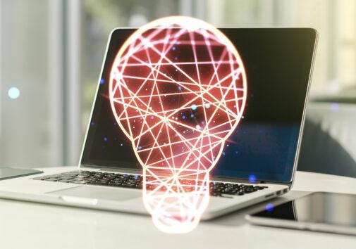 Creative idea concept with light bulb illustration on modern laptop background. Multiexposure. Image credit: iStock