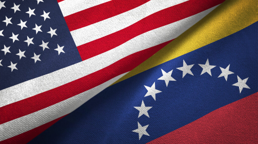 Venezuela and United States flags together. Image credit: iStock