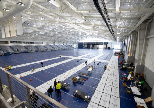 Overhead shot of the University of Michigan U-M Indoor Track Building at the Athletic Campus South Complex is being converted into a field hospital by Michigan Medicine.