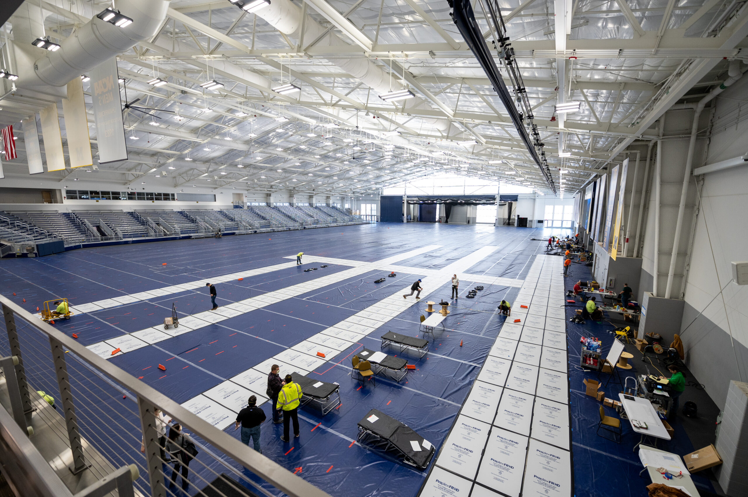 U-M Indoor Track Building at the Athletic Campus South Complex being converted into a field hospital by Michigan Medicine. Image credit: Michigan Photography