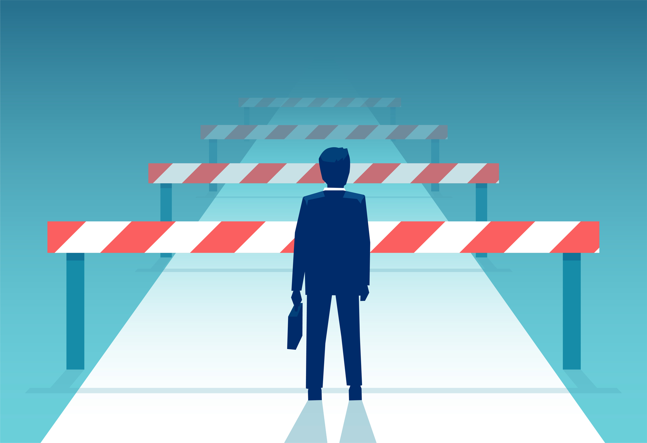 Vector of a challenged businessman standing in front of many obstacles and barriers on the way to success. Image credit: Feodora Chiosea, iStock