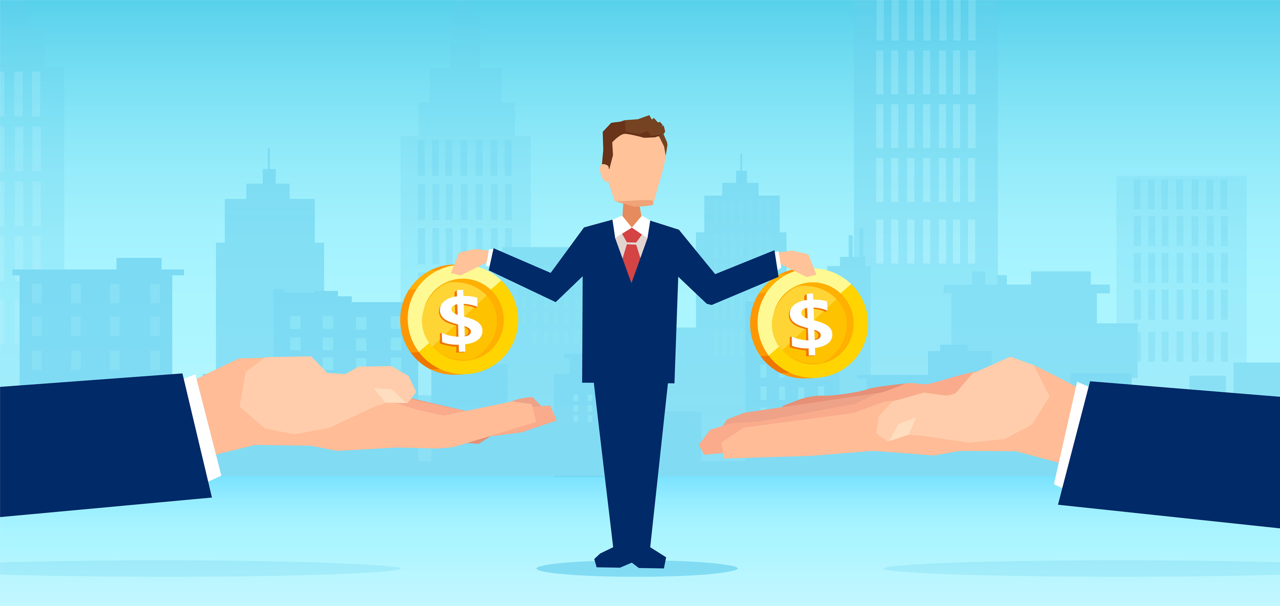 Vector of a small business man owner paying money to big creditors. Image credit: Feodora Chiosea, iStock
