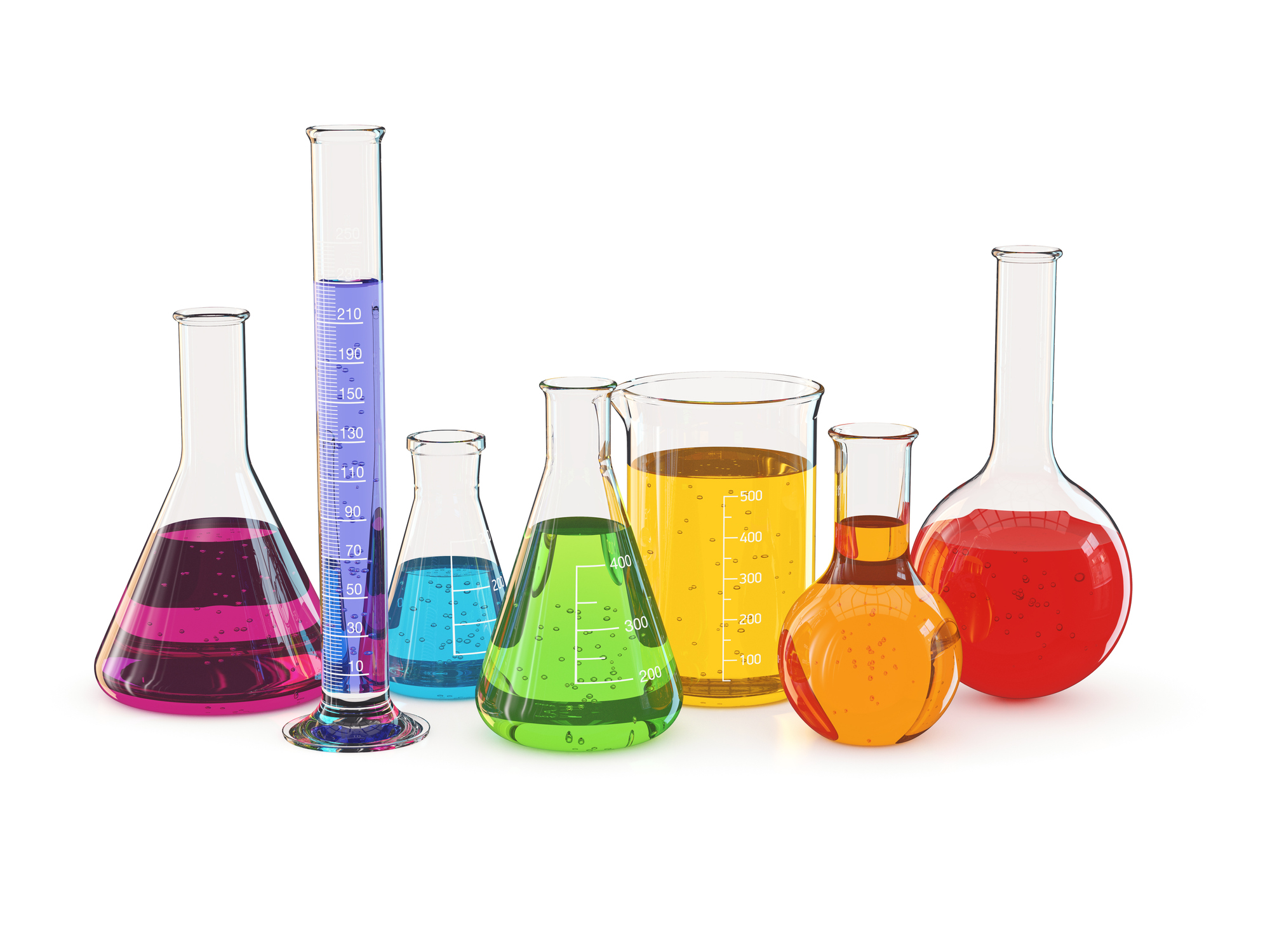 Laboratory glassware with a colorful liquid, isolated on white background. Image credit: VVCephei, iStock