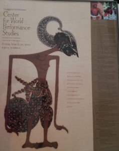 A photo of the poster from the 2001 Grand Opening of the University of Michigan Center for World Performance Studies.