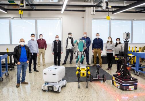 UM FMC Robotics Team with their robots. Image Credit: Ford Motor Company