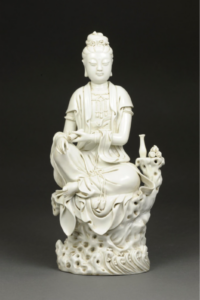 Guanyin, China, Qing Dynasty (18th century), blanc de chine porcelain with glaze, Promised gift of William C. Weese, M.D., LSA '65, PG2020.2.29. Images courtesy: U-M Museum of Art