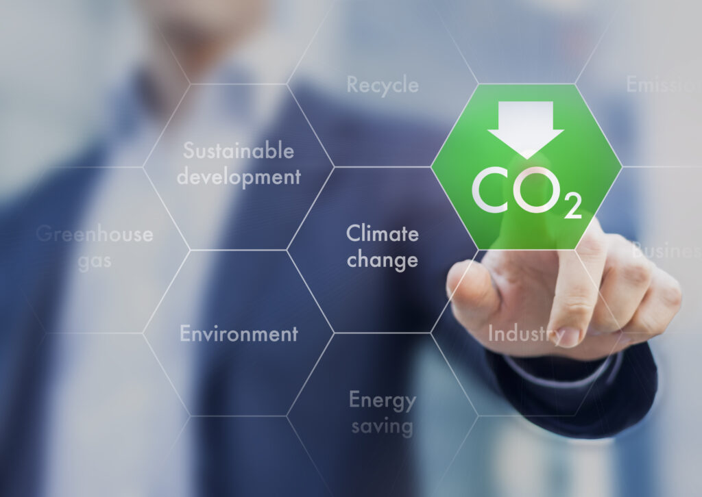 Concept image depicting business lowering carbon. Image credit: iStock