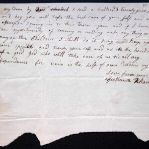 Rachel Revere's note to her husband Paul Revere, reassuring him of the safety of their family following his famous 'midnight ride,' undated [April 1775]. Thomas Gage Papers, University of Michigan William L. Clements Library.