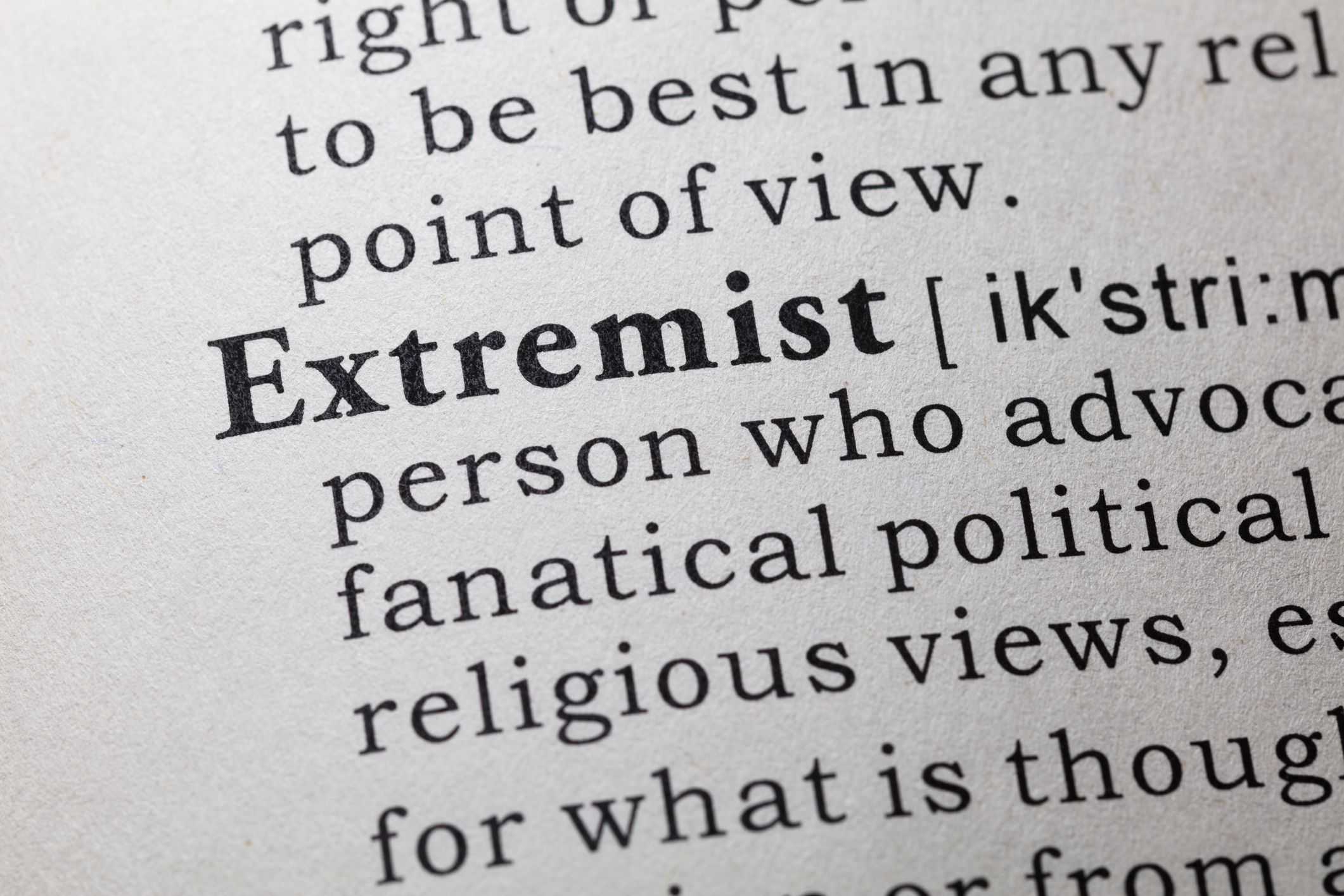 Fake Dictionary, Dictionary definition of the word Extremist. Image credit: iStock