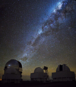 The Milky Way spans the Victor M. Blanco 4-meter Telescope at the Cerro Tololo Inter-American Observatory in Chile, which houses the 570-megapixel Dark Energy Camera. Image credit: Andreas Papadopoulos, The Dark Energy Survey