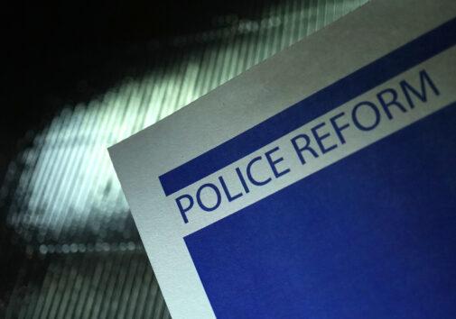Shot of word police brutality. Image credit: Kameleon007, iStock