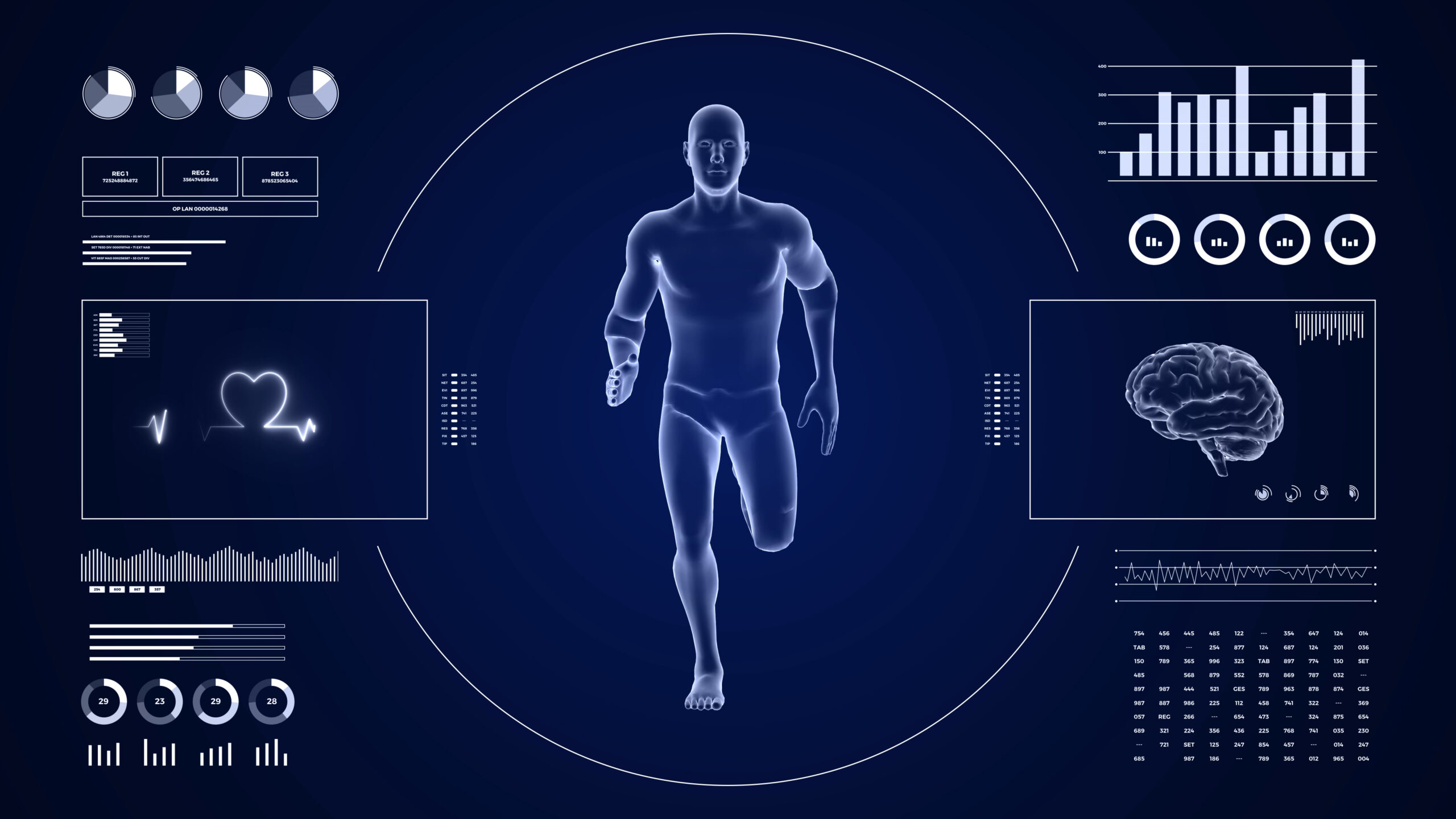 HUD display monitoring cardio running activity of man. Human male figure 3d in fitness motion. Infographics data and reports on digital sport interface. Image credit: Myvector, iStock