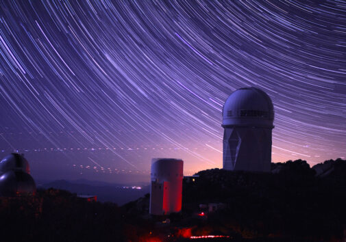 Star trails take shape around the 14-story Mayall Telescope dome in this long-exposure image. The Dark Energy Spectroscopic Instrument was installed inside this dome. Image credit: P. Marenfeld and NOAO/AURA/NSFStar trails take shape around the 14-story Mayall Telescope dome in this long-exposure image. The Dark Energy Spectroscopic Instrument was installed inside this dome. Image credit: P. Marenfeld and NOAO/AURA/NSF