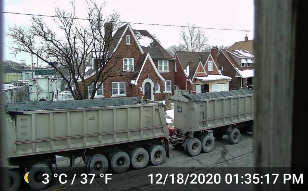 A truck drives by a neighborhood in Southwest Detroit. Neighbors say the constant noise makes it hard to sleep or enjoy outdoor activities. Photo credit: Southwest Detroit Community Benefits Coalition