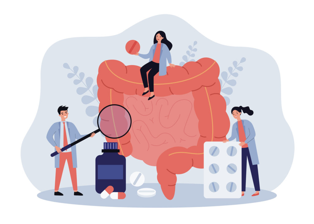 Tiny doctors checking and treating large intestine flat vector illustration. Cartoon inflammation in digestive system. Medicine and health concept