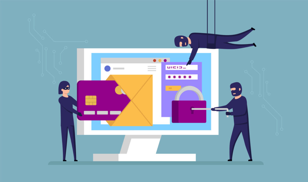 Concept illustration of thieves stealing digital identity. Image credit: iStock