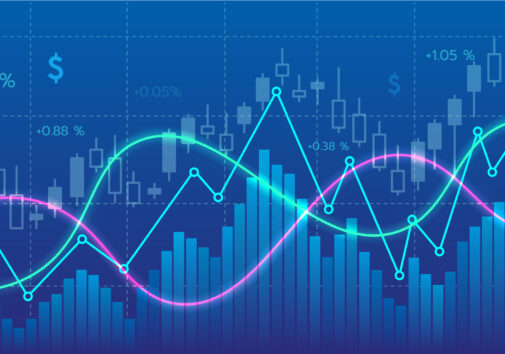 Financial stock market lines charts,trendline and candle stick Digital illustration widescreen. Image credit: Jira Pliankharom, iStock