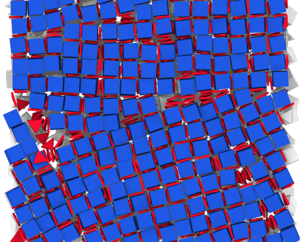 Computer simulations identified the conditions under which nanoscale cubes would self-assemble into a grid, incorporating flat triangular shapes between them. This technique could help enable new kinds of materials with new properties. Image credit: Glotzer Lab, University of Michigan