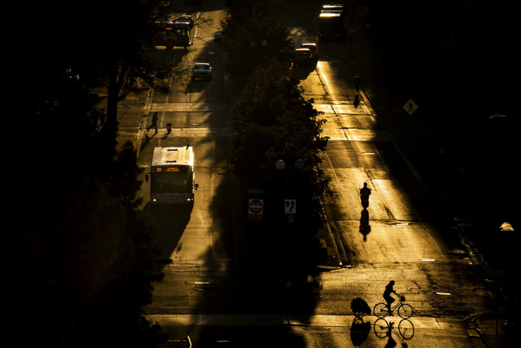 North University Ave. early morning before the hustle and bustle of daily life at the University of Michigan in Ann Arbor, MI on September 17, 2015. Image credit: Joseph Xu, Michigan Engineering