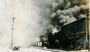 Greenwood businesses on fire in Tulsa, June 1, 1921
