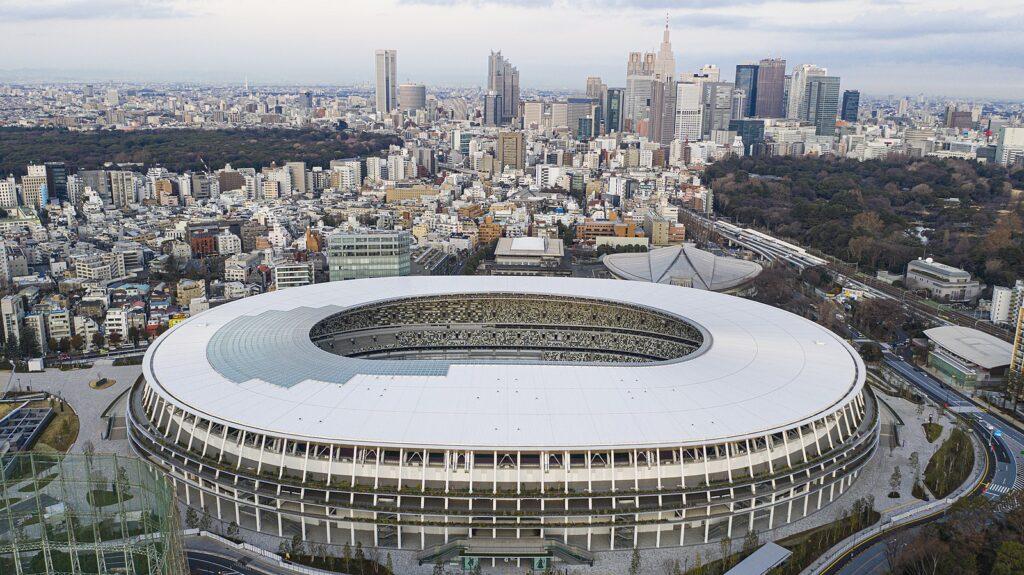 Aerial view of Japan National Stadium, Tokyo
