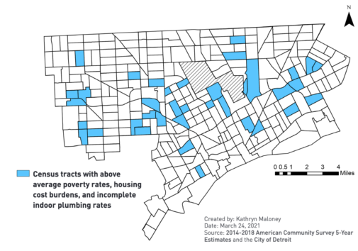"""In a new study of water access and affordability in Detroit, University of Michigan researchers determined that 20% of city's households are """"triple burdened,"""" meaning that the occupants face all three of the following: higher than average poverty rates, higher than average housing cost burdens, and incomplete plumbing. The researchers analyzed census tracts and mapped the overlap between various factors that affect water affordability. Image credit: From """"Addressing the Links Between Poverty, Housing and Water Access and Affordability in Detroit,"""" University of Michigan Poverty Solutions, June 2021."""
