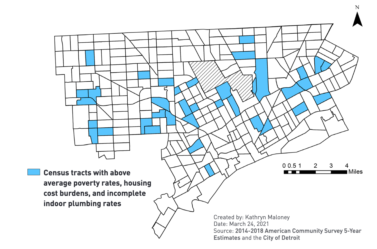 """In a new study of water access and affordability in Detroit, University of Michigan researchers determined that about 10% of the city's population is """"triple burdened,"""" meaning those residents face higher than average rates of poverty, housing cost burden, and incomplete plumbing. The researchers analyzed census tracts and mapped the overlap between various factors that affect water affordability. Image credit: From """"Addressing the Links Between Poverty, Housing and Water Access and Affordability in Detroit,"""" University of Michigan Poverty Solutions, June 2021."""