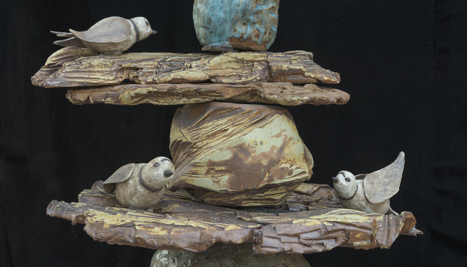 """10 sculptures were created by Ann Arbor Potters Guild artists for an exhibition at the University of Michigan Matthaei Botanical Gardens titled """"A Garden of Earthly Delights."""" Image credit: Jeri Hollister."""