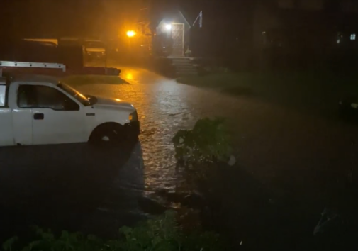 Image taken from a resident provided video of flooding in the Jefferson Chalmers neighborhood of Detroit.