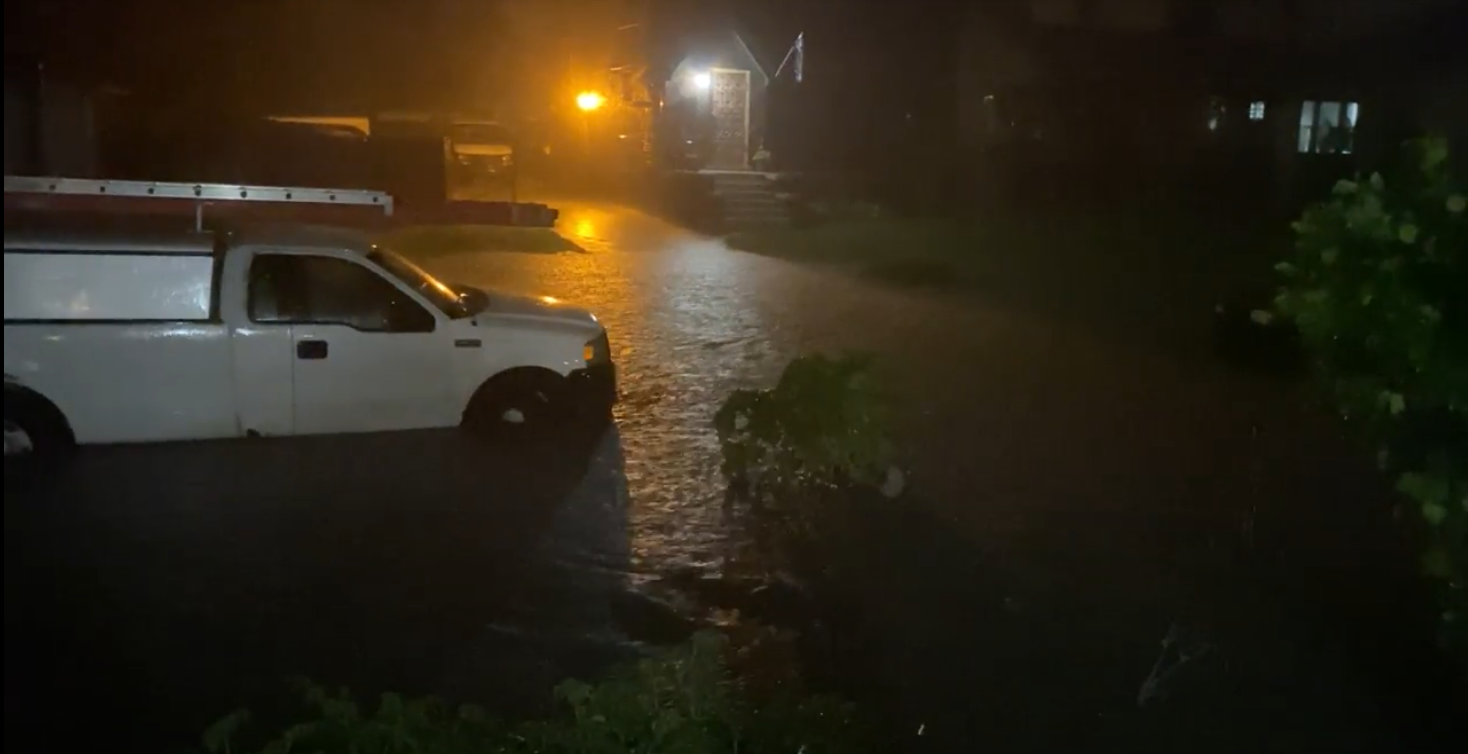 Image taken from a resident-provided video of flooding in the Jefferson Chalmers neighborhood of Detroit.