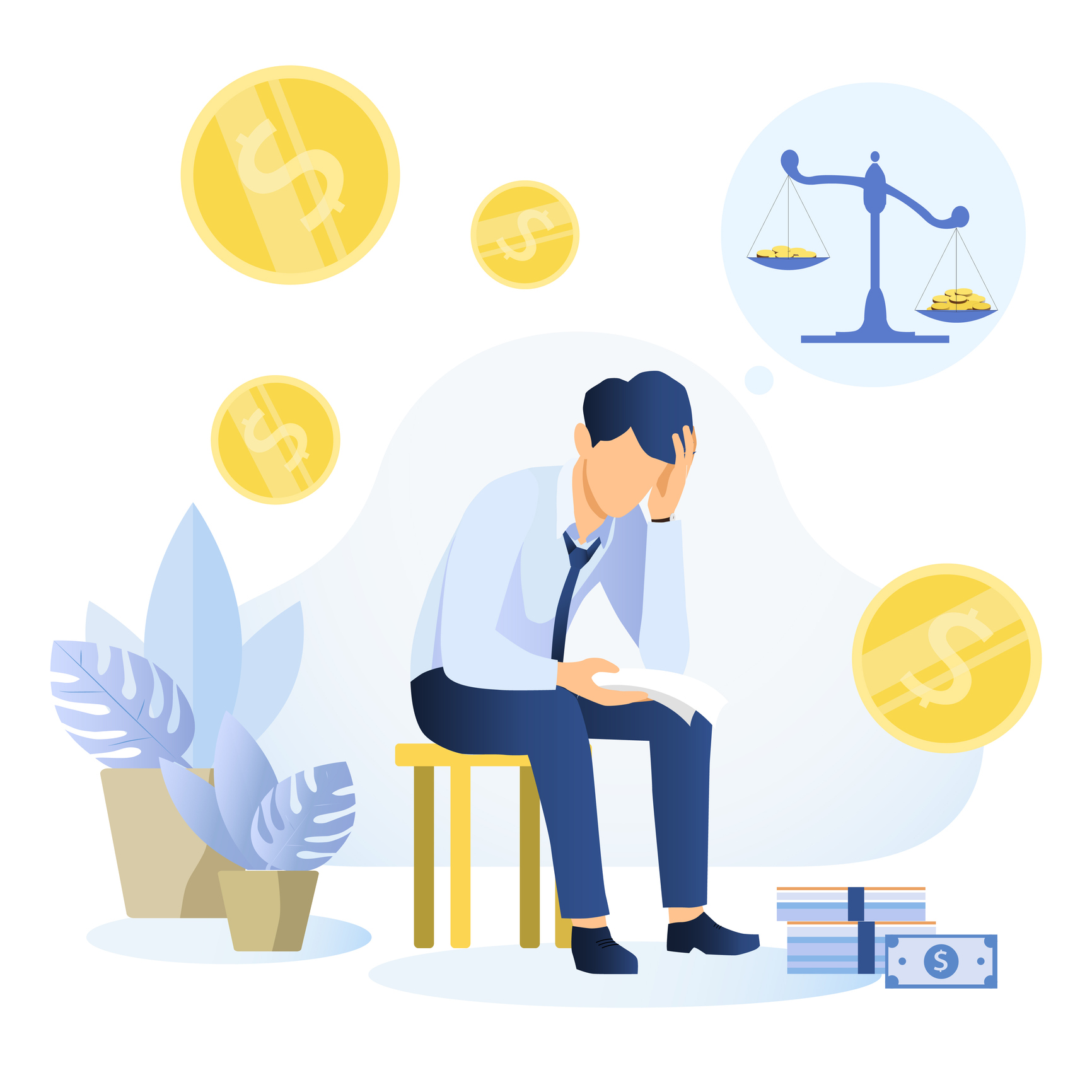 Depressed young man sitting on a chair reading a document and thinking about finding money for paying bills. Financial problems and bankruptcy concept. Flat vector illustration. Image credit: Rudzhan Nagiev, iStock