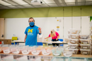 The U-M team assembled 1,575 science kits for use at three schools. Image credit: Eric Bronson, Michigan Photography