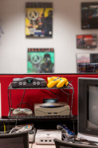 A corner of nostalgic video games in the Video Game Archive, such as the Nintendo 64, Sega Genesis and Sega Dreamcast. Image credit: Eric Bronson, Michigan Photography
