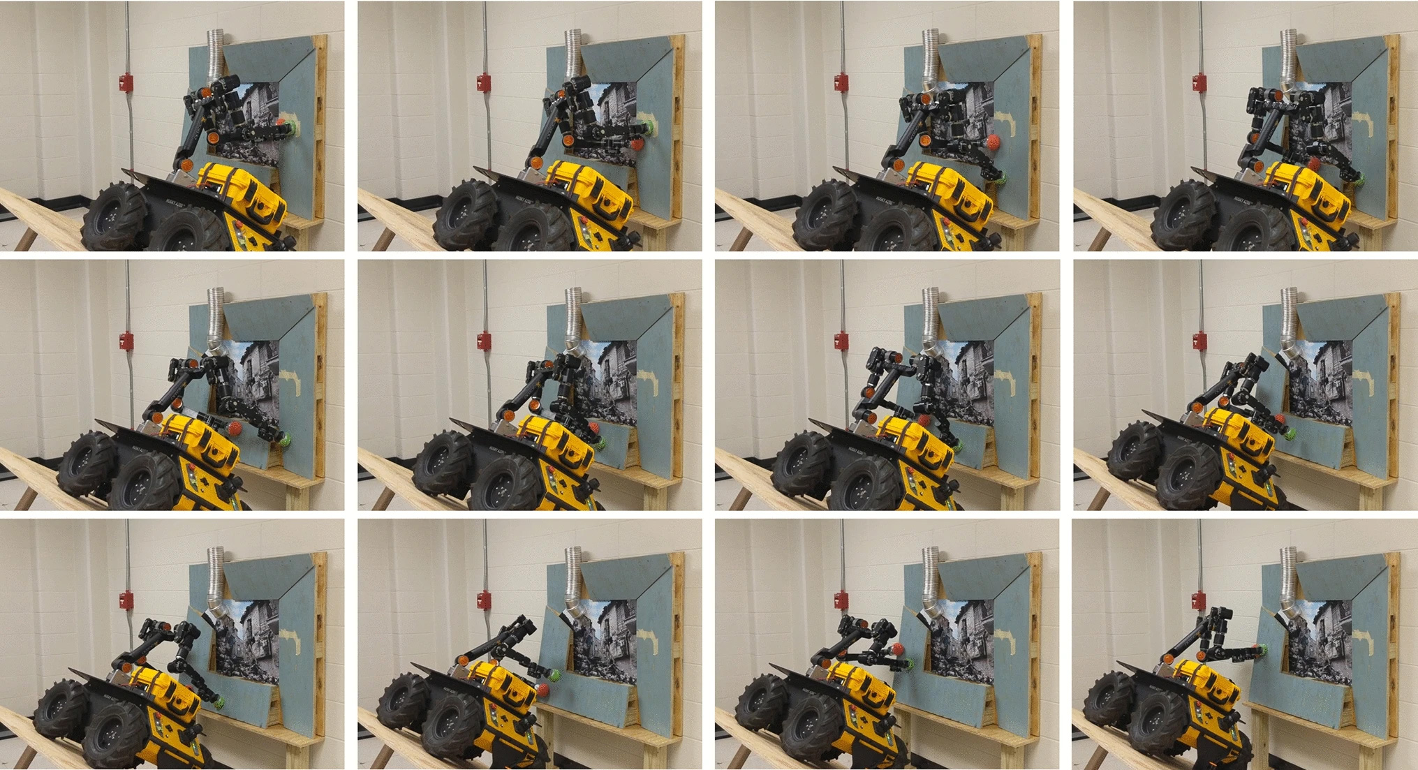 A two-arm mobile manipulator, which would fall if it did not brace itself on the wall, rolls across the steep incline by using the team's approach to identify placements for its arms. Credit Yu-Chi Lin.