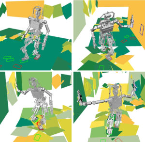 A virtual robot shows different modes of motion, with only feet, with one hand, or with both, as it traverses rough terrain. Credit Yu-Chi Lin.
