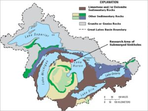 Map of the Great Lakes basin showing the geological context. Arrow and red circle indicate the location of several submerged Lake Huron sinkholes, including the Middle Island Sinkhole. Image credits: Figure from Biddanda et al. 2012, published in Nature Education Knowledge, and originally sourced from Granneman et al. 2000.