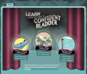 A screenshot of MyConfidentBladder.com