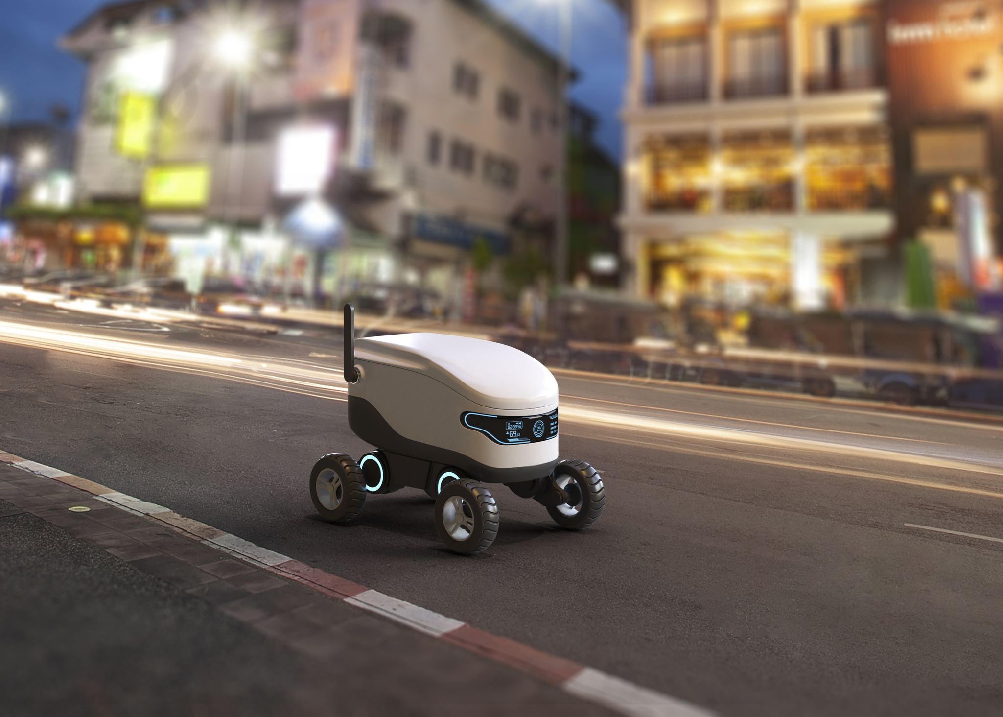 Self-driving delivery robot concept. 3D illustration. Image credit: sarawuth702, iStock