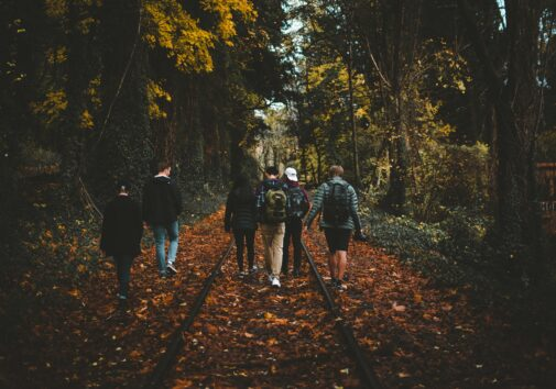 Six person walking on train rail surrounded by tall trees at daytime. Image credit: Anthony Intraversato, Unsplash