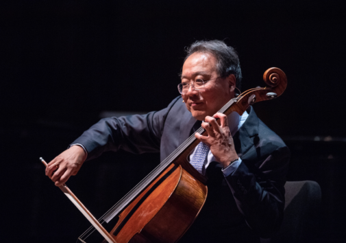 Yo-Yo Ma performs for an Ann Arbor audience at the University of Michigan's Hill Auditorium during a Feb. 2019 visit. Image credit: Eric Bronson/Michigan Photography.