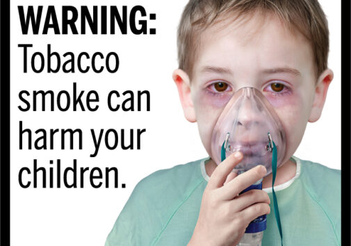 A proposed graphic tobacco warning label with a child using an oxygen mask. Image courtesy FDA.gov