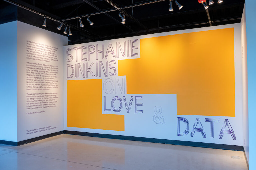"""Inro panel for a new exhibition titled """"Stephanie Dinkins: Love & Data"""""""