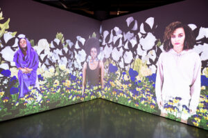 """""""Secret Garden"""" (2021) by Stephanie Dinkins is on view at the University of Michigan's Stamps Gallery in downtown Ann Arbor until Oct. 23, 2021 Photo by Eric Bronson/Michigan Photography. Image credit: Eric Bronson/Michigan Photography."""
