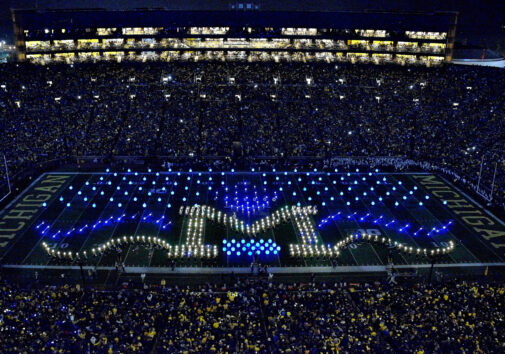 The Michigan Marching Band worked with Durant Design's Tim Durant to create a similar light show for their halftime performance on Oct. 11, 2014, when the Wolverines played Penn State. Image credit: Robert Brown.