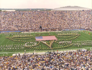 On Sept. 22, 2001, just 10 days after the 9/11 attacks, the Michigan Marching Band shared the field with the Western Michigan University Marching Band to pay tribute to those who lost their lives. Image credit: Dick Gaskill